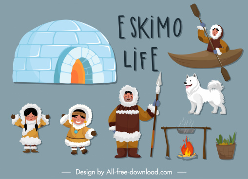 eskimo design elements cartoon design symbols sketch