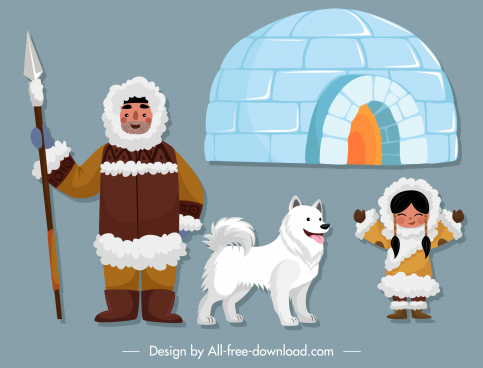eskimo design elements colored cartoon sketch
