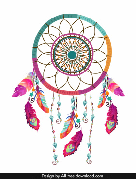 ethnic background dream catcher icon colorful decor