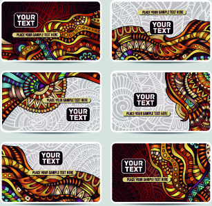ethnic decorative style cards vector graphics
