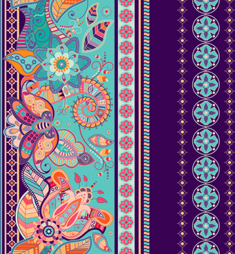 ethnic floral borders pattern vector
