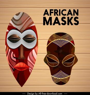 ethnic mask templates colorful frightening symmetric design