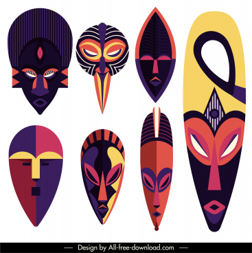ethnic mask templates frightening faces colorful symmetric design