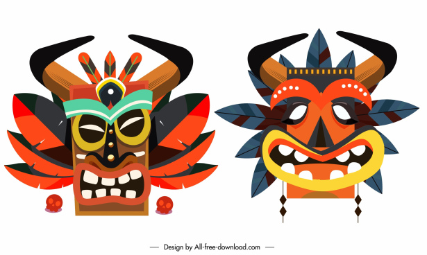 ethnic masks icons colorful classic frightened symmetric faces