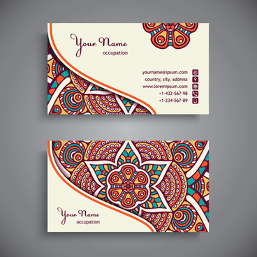 ethnic pattern business card vintage vector