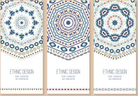 ethnic pattern cards design vectors