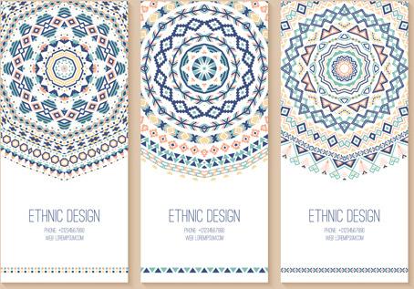 ethnic pattern cards design vectors