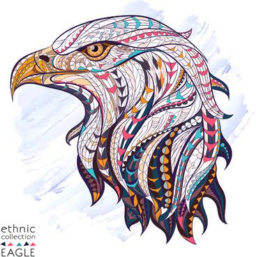 ethnic pattern eagle vector