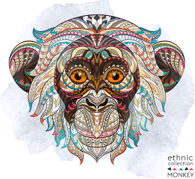 ethnic pattern monkey vector
