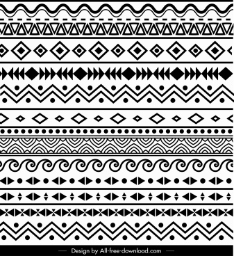 ethnic pattern retro black white repeating abstract shapes