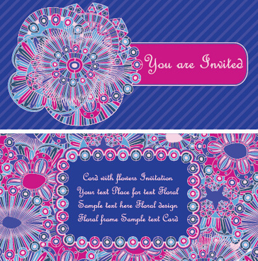 ethnic patterns style invitation cards vector