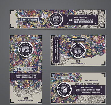 ethnic style floral pattern cards vector set