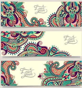 ethnic style ornament banner vector