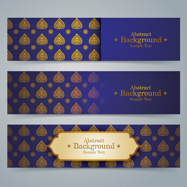 ethnic style pattern banners vector