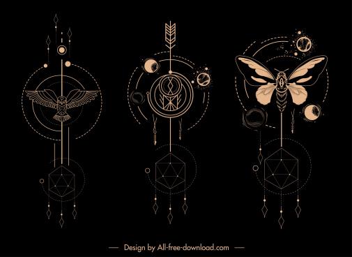 ethnic tatoo templates animals planets motion sketch