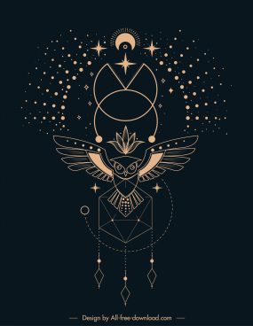 ethnic tattoo template universe elements owl polygonal sketch