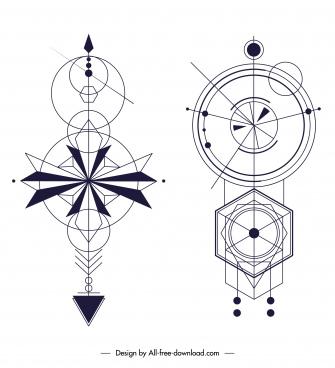 ethnic tattoo templates flat geometric sketch symmetric shapes