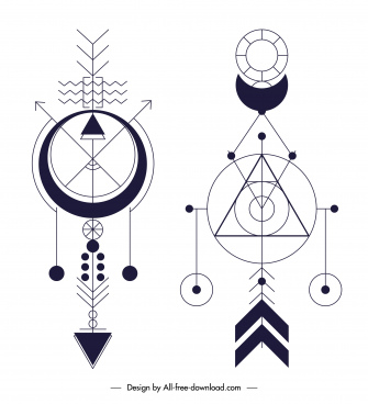 ethnic tattoo templates flat symmetric geometry shapes