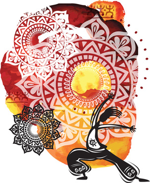 ethnic watercolor with yoga vector background