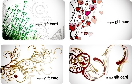 gift card templates colored flora hearts sketch