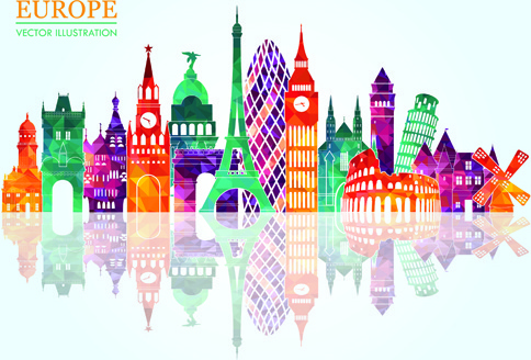 europe colored landmark building vector