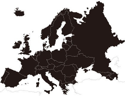 europe map background black silhouette design