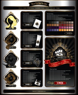 cosmetics advertising banner hairstyle icons elegant dark colorful decor