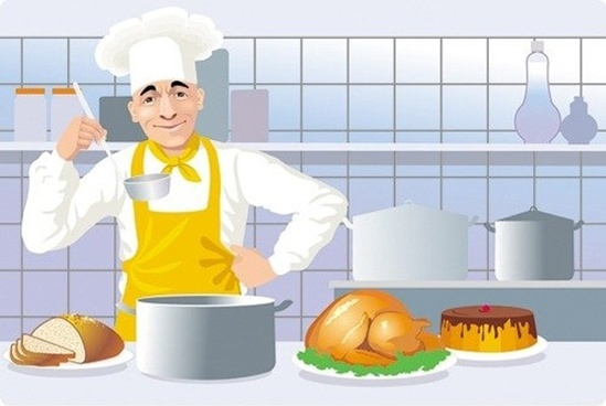 european and american kitchen cooking clip art