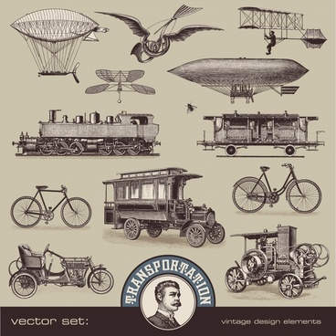 european and american vintage steam engine transport vector