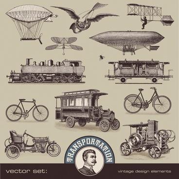 european and american vintage steam engine transport vector