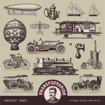 european and american vintage transport vector