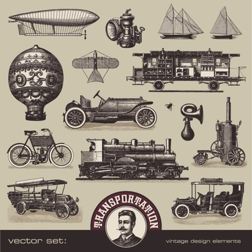 european and american vintage vehicles 01 vector