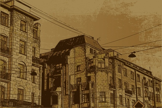 town scenery painting retro grunge handdrawn buildings sketch