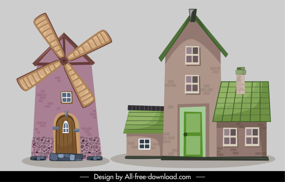 european architecture icons classical windmill house design