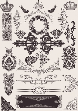 decorative elements templates classical luxury royal symmetry shapes