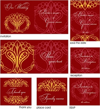 card templates classical elegant seamless symmetrical decor