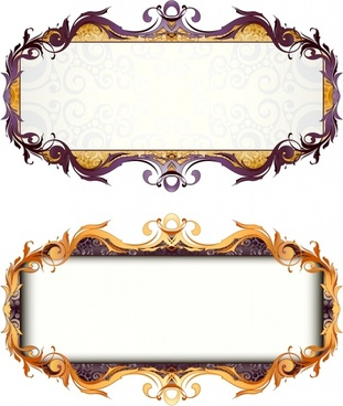 decorative frame templates colored elegant symmetric curves decor