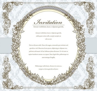 invitation card template retro elegant border symmetric decor
