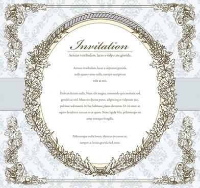 invitation card template retro elegant border symmetric decor