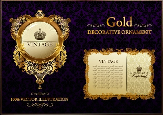 gold decorative templates luxury european shapes