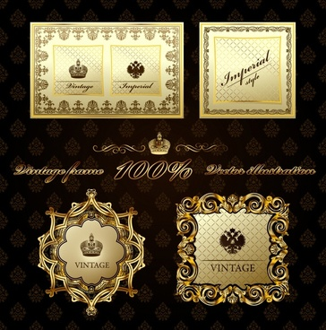 border templates golden vintage design