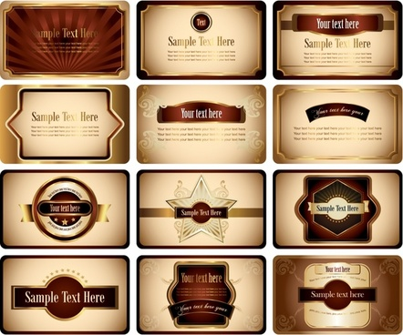 card templates collection elegant luxury brown decor