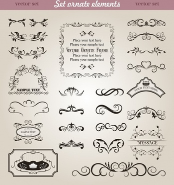 border design elements elegant classic symmetric shapes