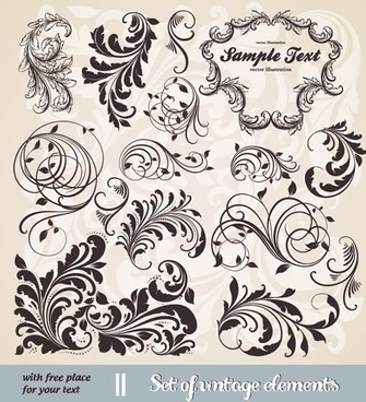decorative elements templates swirled leaf sketch retro design