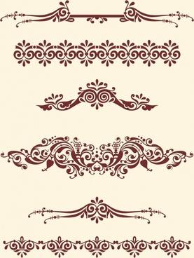 document decorative design elements classical symmetric seamless curves