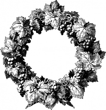 wreath border template classical black white outline