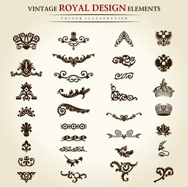 documents decor elements elegant retro symmetric shapes
