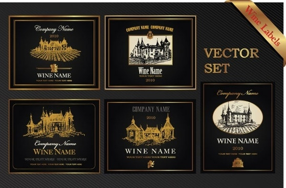 european classic pattern bottle label affixed 02 vector