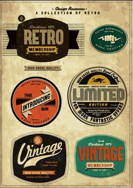 european classic retro bottle stickers 01 vector