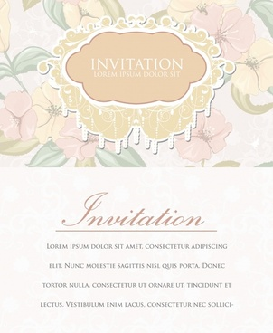 wedding invitation card classic elegant colorful blurred floral